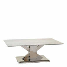Azaro - Coffee Table Grey Marble Top With Chrome Finish Base
