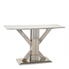 Azaro - Console Table Grey Marble Top With Chrome Finish Base