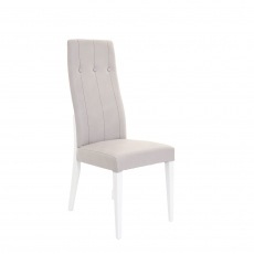 Wyndham - Dining Chair In Wave 109 Grey PU Fabric & White HG Legs With Buttons