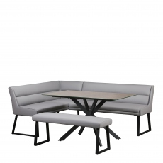 Jessica  - Corner Bench Right Set With 135cm Faux Ceramic Table