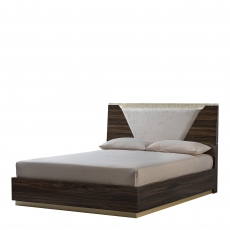 Sahara - 154cm Bed With Wooden Headboard Including LED Lights In Glossy Dark Walnut Finish