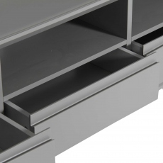 Athena - TV Stand Grey Matt Finish With Grey Frosted Glass Top