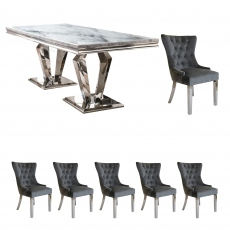 Missano - 200cm Dining Table With 6 Spartan Grey Chairs
