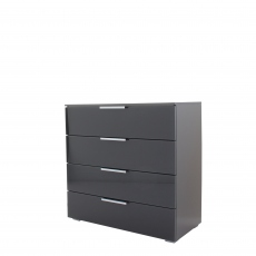 Strada - 80cm 4 Drawer Chest In A037G Graphite/Basalt Glass