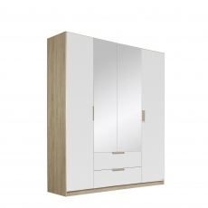 Gamma - 181cm Hinged 4 Door 2 Mirror 2 Drawer Robe