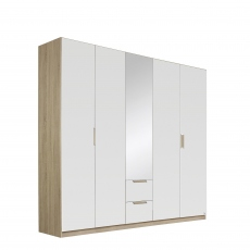 Gamma - 226cm Hinged 5 Door 1 Mirror 2 Drawer Robe