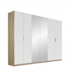 Gamma - 271cm Hinged 6 Door 2 Mirror Robe