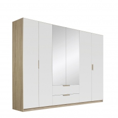 Gamma - 271cm Hinged 6 Door 2 Mirror 2 Drawer Robe