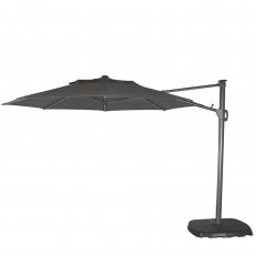 St Tropez - 3.3m Round Parasol in Grey With LED Lights Including Cover With Sand & Water Base