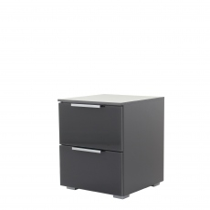 Strada - 40cm 2 Drawer Bedside Table In A037G Graphite/Basalt Glass