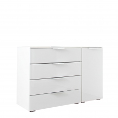 Strada - 120cm 1 RHF Door 4 Drawer Chest In White/White Glass A011G