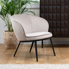 Lounge Chair In Taupe Velvet