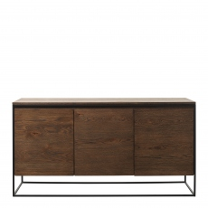 Fremont - Large 3 Door Sideboard In Smoked Oak Finish & Black Metal Legs