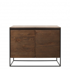 Fremont - Small 2 Door Sideboard In Smoked Oak Finish & Black Metal Legs