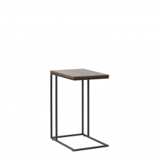 Fremont - Lap Top Table In Smoked Oak Finish & Black Metal Legs