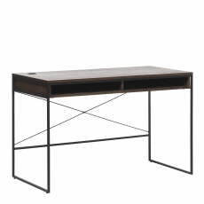 Fremont - Desk In Smoked Oak Finish & Black Metal Legs