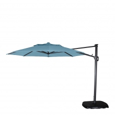 St Tropez - 3.3m Round Parasol in Duck Egg Blue Including Cover With Sand & Stne Base