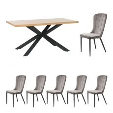 Holmwood - 200cm Dining Table With 6 Mala Chairs In Grey Velvet