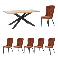 Holmwood - 200cm Dining Table With 6 Mala Chairs In Rust Velvet