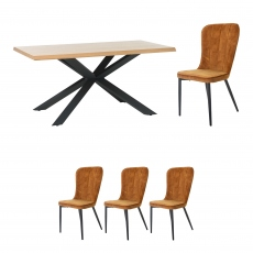 Holmwood - 160cm Dining Table With 4 Mala Chairs In Amber Velvet