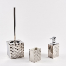 Chess Toilet Brush & Holder Silver