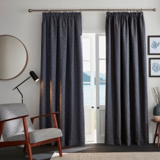 Ardely Indigo Pair of Blackout Pencil Pleat Readymade Curtains