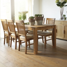 Royal Oak - 180cm Dining Table & 6 Chairs Fabric