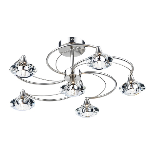 Lena 6 Light Satin Chrome