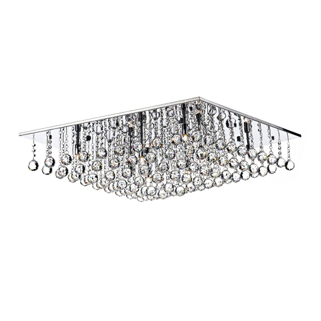 Abacus 8 Light Polished Chrome Clear Crystal Glass