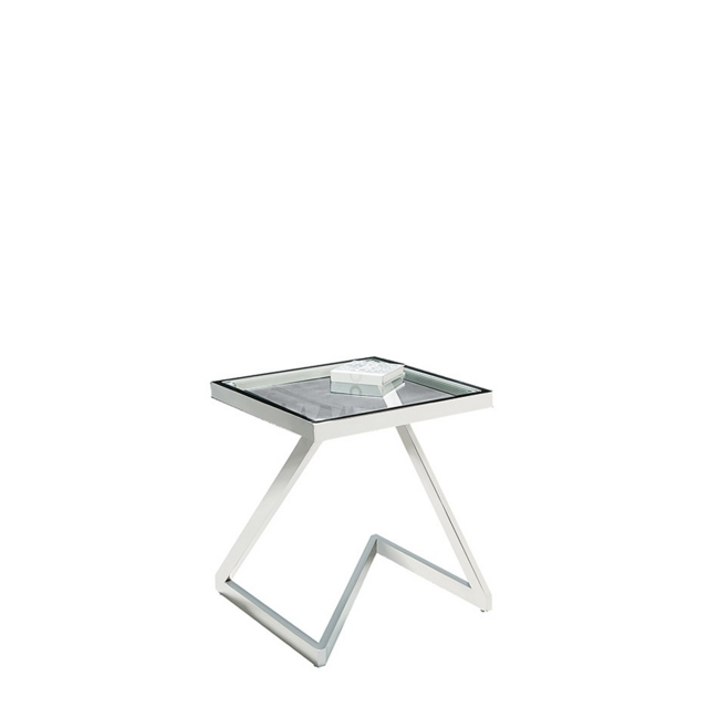 Square Lamp Table Stainless Steel/Glass