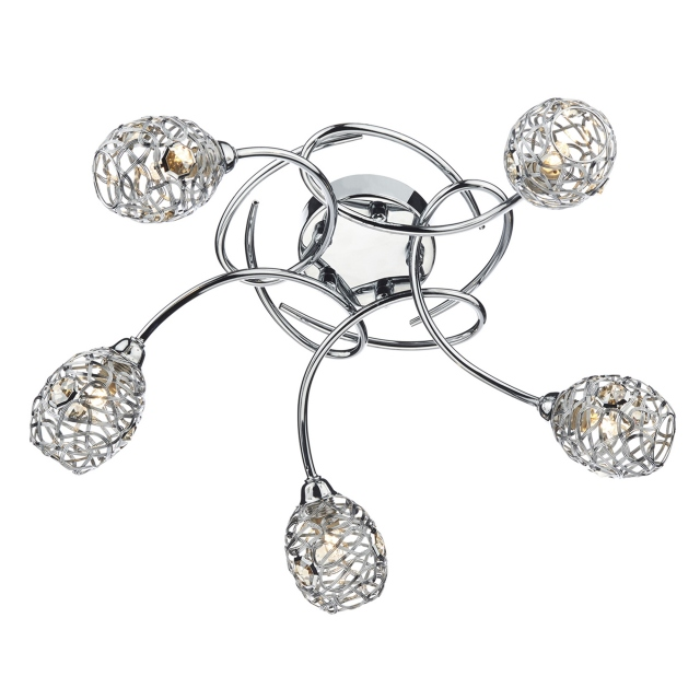 Antonio 5 light Semi Flush Polished Chrome