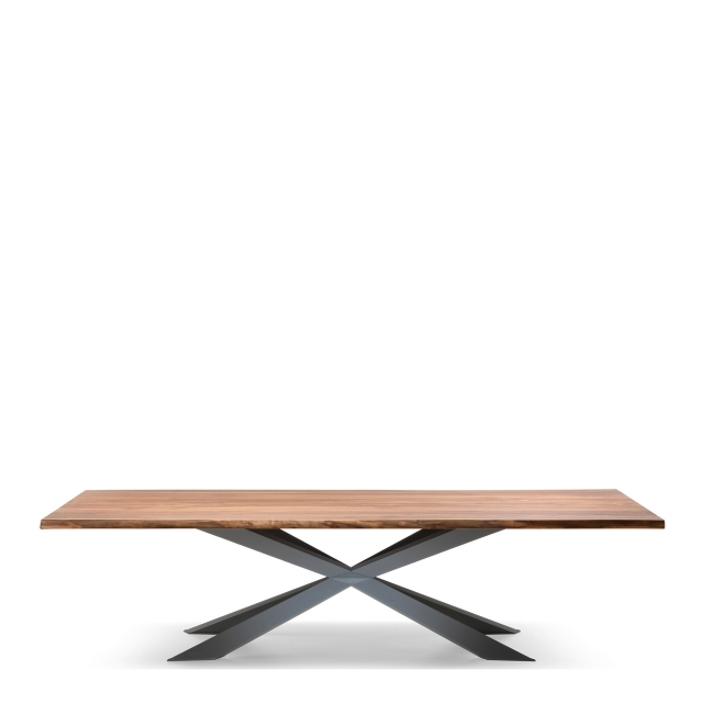 Cattelan Italia Spyder Wood - Dining Table Walnut Canaletto Top & Matt Graphite Base