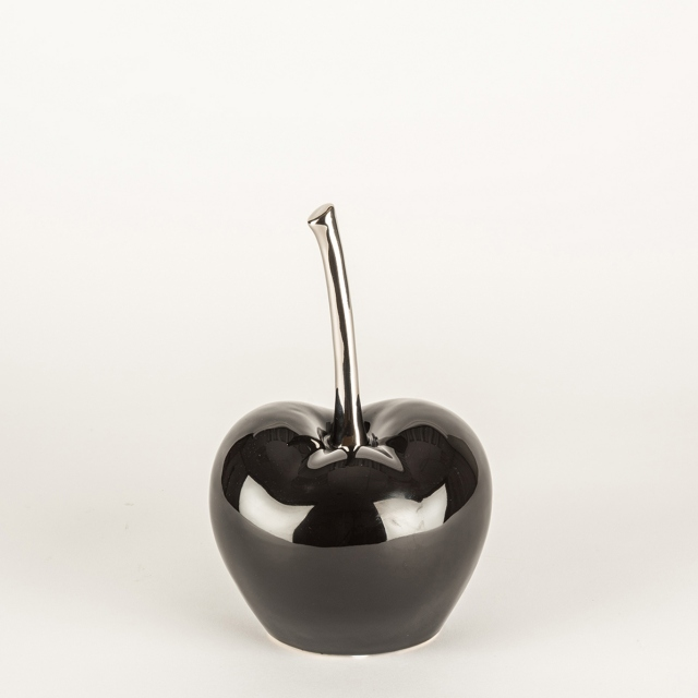 Glace Cherry Ornament - Black/Silver Large