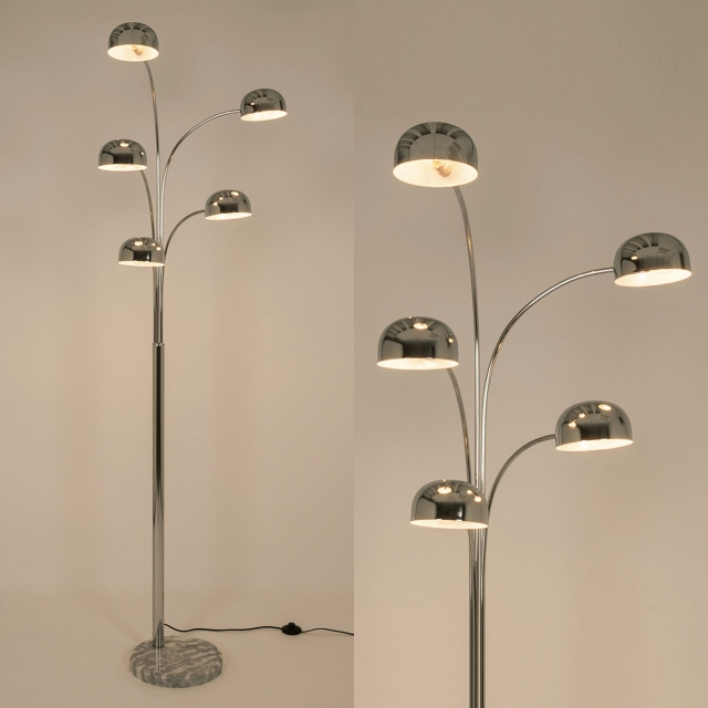 Den 5 Arm Chrome Floor Lamp