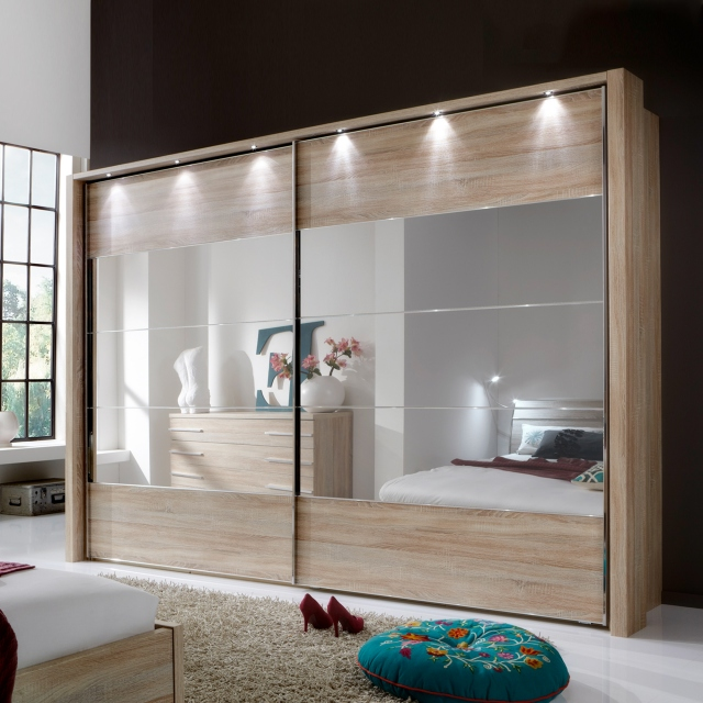 Aria - 250cm Sliding Door Wardrobe Including Frame & Lights
