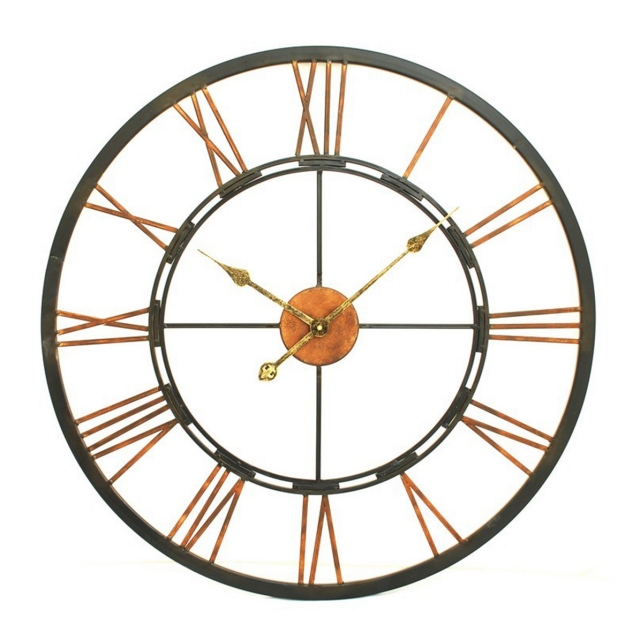 Skeleton Wall Clock Black / Bronze