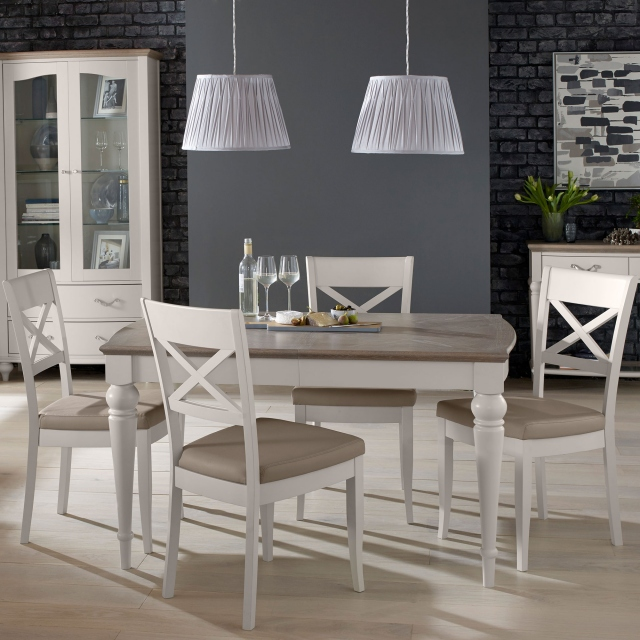Chateau - 180cm Extending Table & 4 X Back Chairs In Grey Washed Oak & Soft Grey