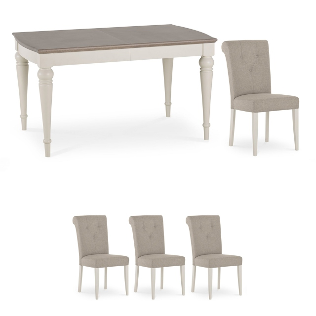Chateau - 140cm Extending Table & 4 Fabric Chairs In Grey Washed Oak & Soft Grey