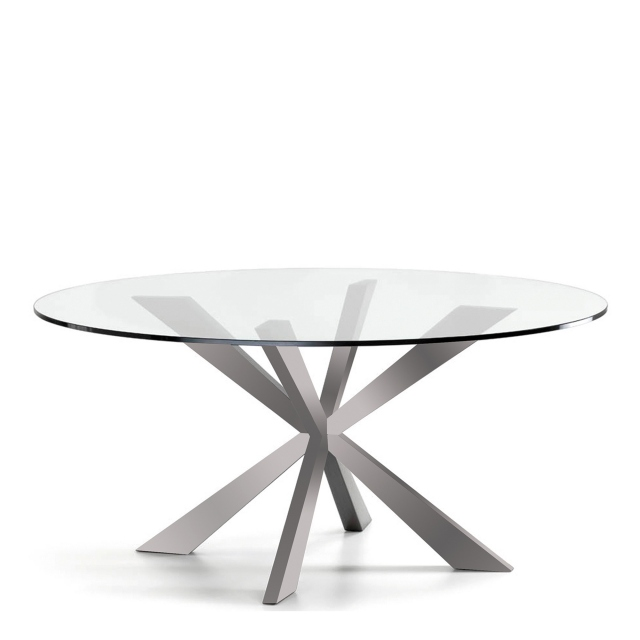 Cattelan Italia Spyder - Round Dining Table Inox Base With Clear Glass Top