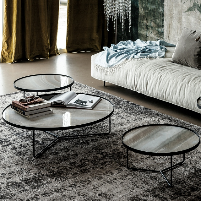 Cattelan Italia Billy Kermaik - 100 x 28cm Coffee Table Marmi Ceramic Top & Black Base