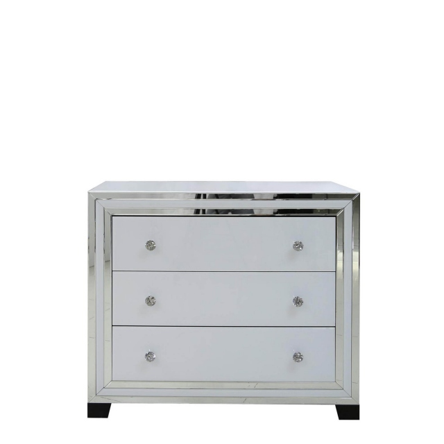 Madison - 3 Drawer Cabinet White Clear & Mirror Finish