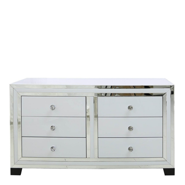 6 Drawer Cabinet White Clear & Mirror Finish - Madison