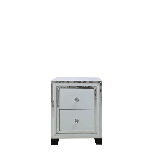 Madison - 2 Drawer Bedside Cabinet White Clear & Mirror Finish