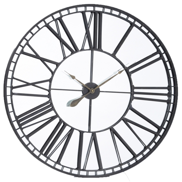 Skeleton Mirror Wall Clock Medium