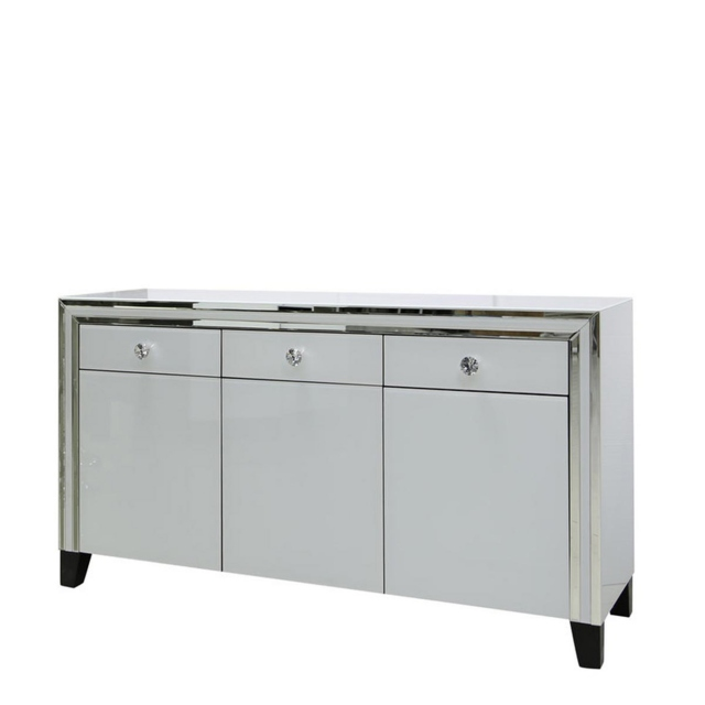 Madison - 3 Drawer 3 Door Sideboard White Clear & Mirror Finish