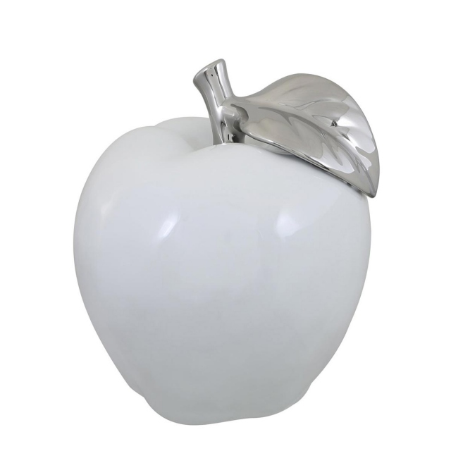 Apple Ornament - White/Silver Large