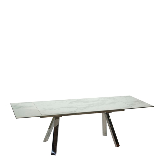 Cantania - 160cm Extending Dining Table In White Marble Ceramic Top