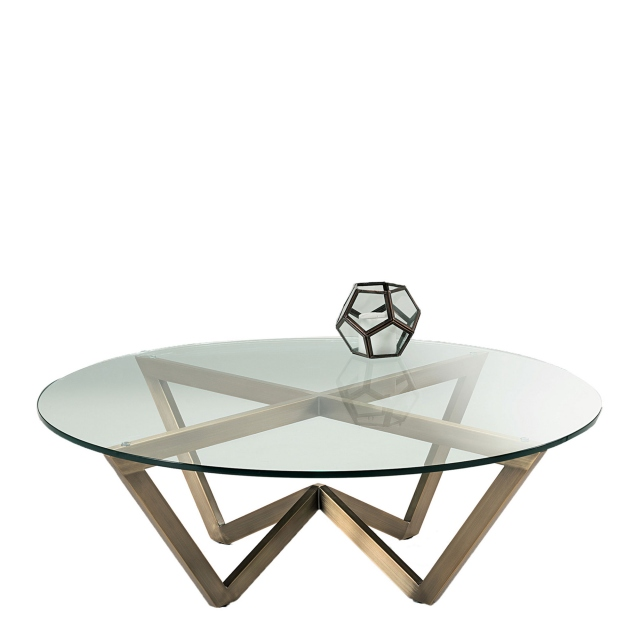 Reflex - Circular Glass Top Coffee Table with Brushed Bronze Finished Frame