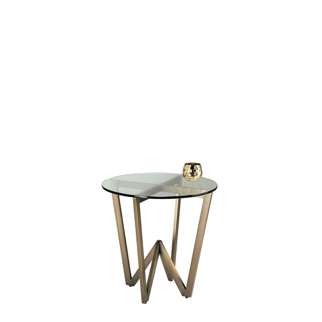Reflex - Circular Glass Top Side Table with Brushed Bronze Finished Frame