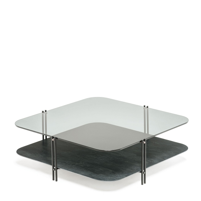 Cattelan Italia Biplane - Coffee Table With Fumé Glass Top